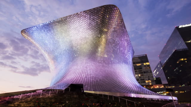 TL, WS Soumaya museum building at dusk / Mexico City, Mexico