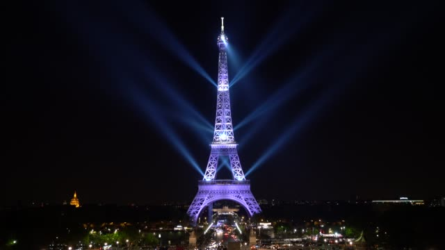 a sound and light show is projected on the eiffel tower on may 15 2019 in paris france to celebrate the 130th anniversary of the eiffel tower the... - eiffel tower stock videos & royalty-free footage