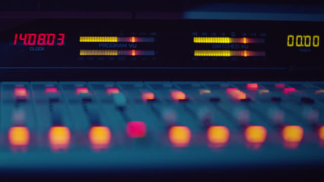 sound engineer is working with sound control desk in studio - control room stock videos & royalty-free footage