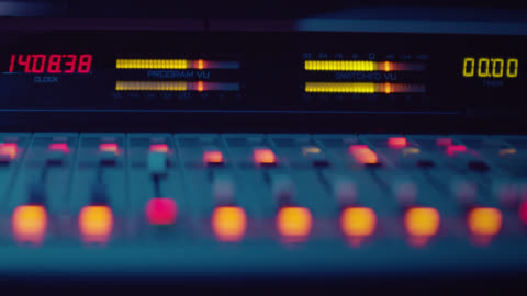 sound engineer is working with sound control desk in studio - performing arts event stock videos & royalty-free footage