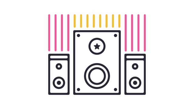 sound system icon animation - stereo stock videos and b-roll footage