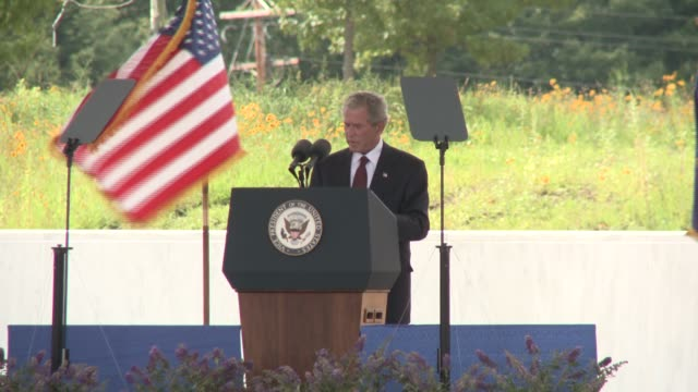 soundbite from former president george w bush on sacrifice and winning the first battle in the war on terror dedication of the united flight 93... - bush stock videos & royalty-free footage