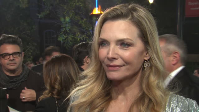 soundbite with michelle pfeiffer on the red carpet at the world premiere of murder on the orient express speaking about feeling nervous initially... - michelle pfeiffer stock videos & royalty-free footage