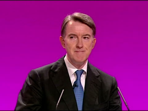 soundbites from lord peter mandelson, secretary of state for business, innovation and skills, speech to the labour party conference 2009 - イーストサセックス点の映像素材/bロール