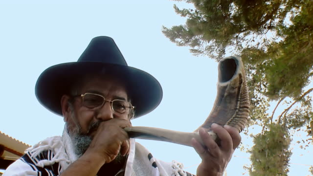 sounding a shofar - judaism stock videos & royalty-free footage