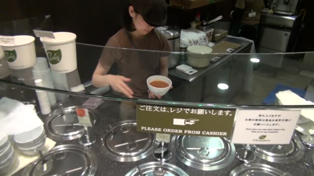 soup counter at grocery store in tokyo - serving utensil stock videos and b-roll footage