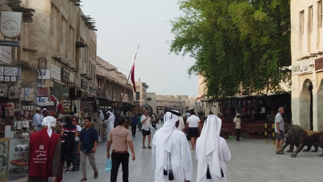 souq waqif is a marketplace indoha, in the state ofqatar. the souq is noted for selling traditional garments, spices, handicrafts, and souvenirs.... - doha stock videos & royalty-free footage