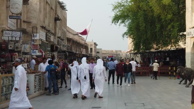 souq waqif is a marketplace indoha, in the state ofqatar. the souq is noted for selling traditional garments, spices, handicrafts, and souvenirs.... - qatar stock videos & royalty-free footage