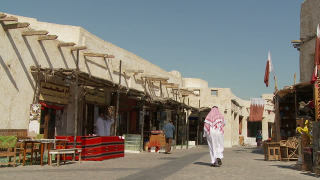 ws souq waqif with market stalls / doha, qatar - souk stock videos & royalty-free footage