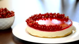 Sour cream cheesecake with red currant.