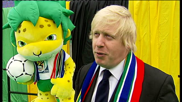 london big screen boris johnson interview sot - fifa world cup 2010 stock videos & royalty-free footage