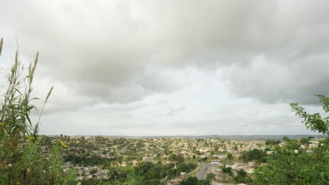 South Africa city on overcast day, wide