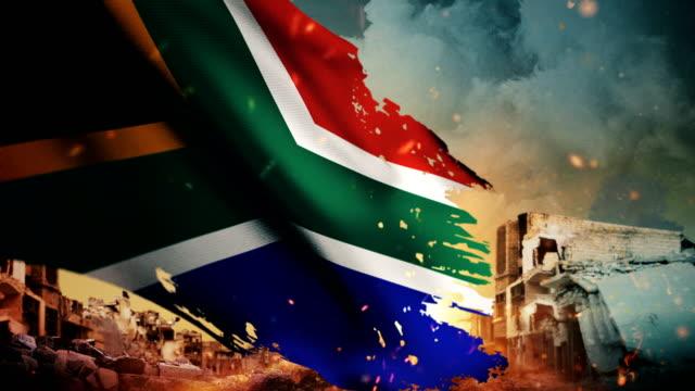 4K South Africa Flag - Crisis / War / Fire (Loop)