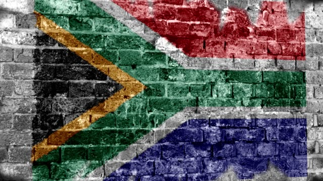 South Africa Flag Grunge Wall. 4k