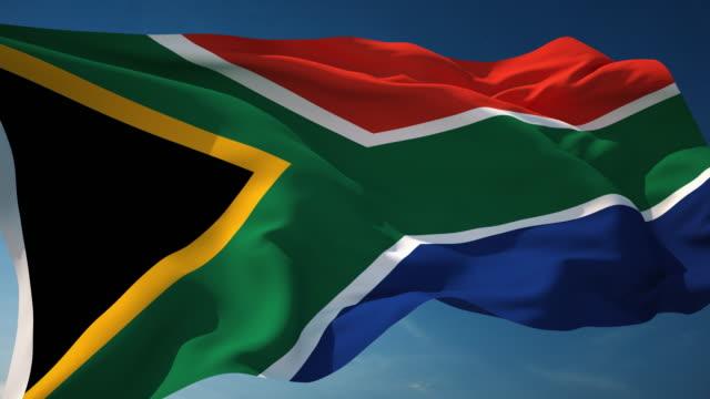 4 k südafrika-flagge-schleifen einsetzbar - fahnenstange stock-videos und b-roll-filmmaterial