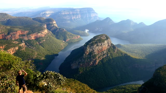 south africa male blyde river canyon mpumalanga escarpment  - blyde river canyon stock videos and b-roll footage