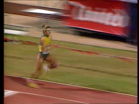 south africa readmitted to olympics itn lib tms white female s african athlete doing long jump ms white male javelin thrower in action - salto in lungo video stock e b–roll