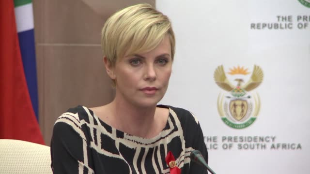 South African born Hollywood actress Charlize Theron meets President Zuma to promote the fight against HIV AIDS CLEAN Actress Charlize Theron in...