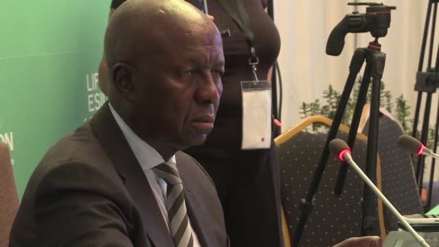 South African former deputy chief justice Dikgang Moseneke presides over the Life Esidimeni arbitration public hearing in Johannesburg South Africa