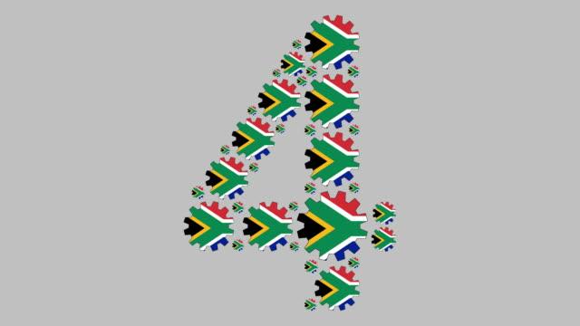 南アフリカ第4位 - 数字の4点の映像素材/bロール