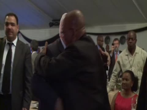 south african president jacob zuma greets palestinian leader mahmud abbas at a special gala dinner for the 100th anniversary of the african national... - 100th anniversary stock videos & royalty-free footage