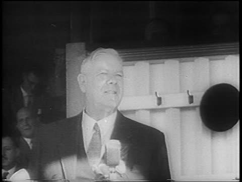 South African Prime Minister Hendrik Verwoerd giving speech before assassination attempt