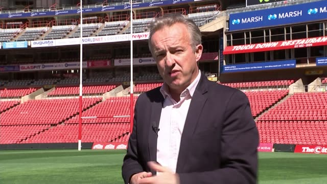 south african rugby accused of racism ahead of rugby world cup reporter to camera - 被告人点の映像素材/bロール