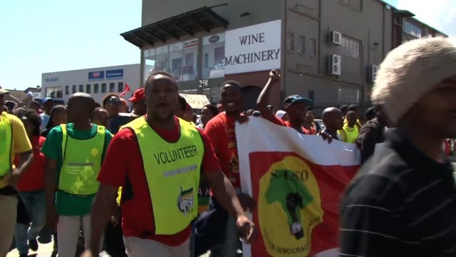 south african students congress gather outside stellenbosch south africa for a march against what it calls apartheid stellenbosch following calls for... - stellenbosch stock videos and b-roll footage