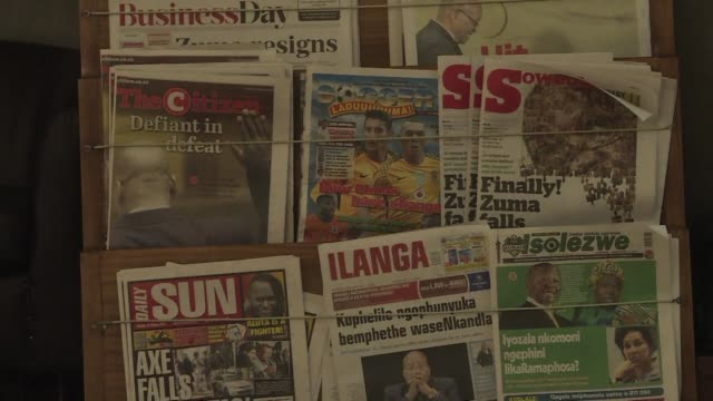 South Africa's newspapers carry the headlines of scandal tainted Jacob Zuma's resignation as the country prepares to welcome wealthy former...