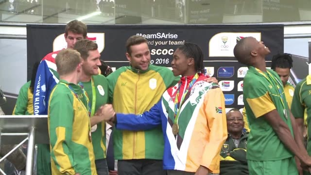south africa's olympic medallists receive a heroes welcome as they arrive home from the games in brazil - caster semenya stock videos & royalty-free footage