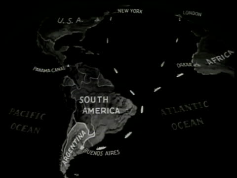 map south america 'argentina buenos aires' w/ illustrated distance drawn from new york usa london england amp dakar africa - buenos aires video stock e b–roll