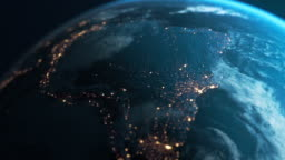 South America At Night - Planet Earth Seen From Space
