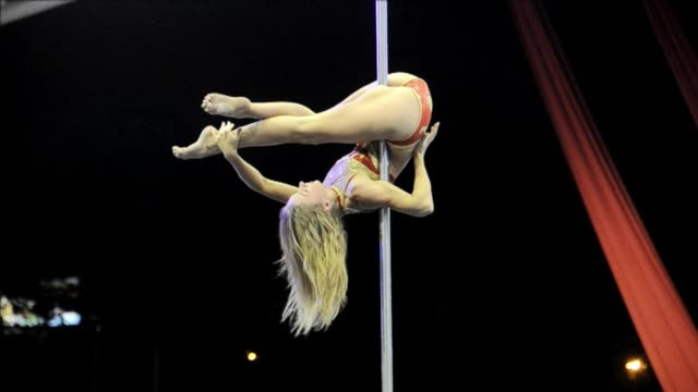 south american pole dancers competed saturday in the south america pole cup in cali colombia - contest stock videos & royalty-free footage