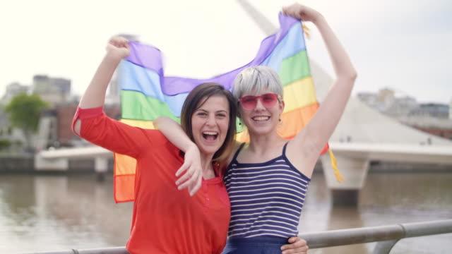 south american queer friends in buenos aires - puente de la mujer stock videos & royalty-free footage