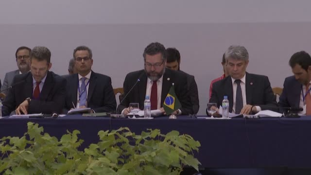 south america's four-nation trade bloc mercosur begins a summit meeting in brazil reeling from us steel and aluminum tariffs and a spat between its... - mercosur stock videos & royalty-free footage