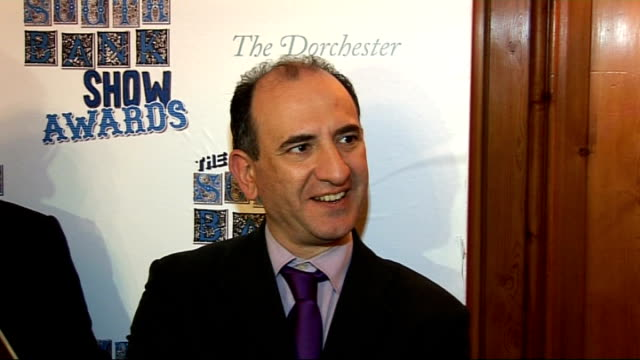 south bank show awards 2010: interviews; armando iannucci interview sot - on 'the thick of it' success / swearing on the show / having a female lead... - アーマンド・イアヌッチ点の映像素材/bロール