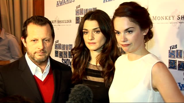 interviews rachel weisz ruth wilson and rob ashford interview sot very surprised to win the theatre award / the end of the south bank show / future... - rachel weisz stock videos & royalty-free footage
