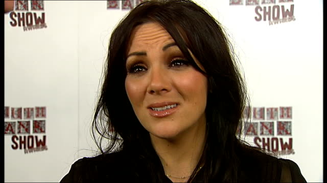 celebrity arrivals england london martine mccutcheon posing for press and interview sot/ cast of 'the mark of cain' posing with award/ tony marchant... - scriptwriter stock videos and b-roll footage