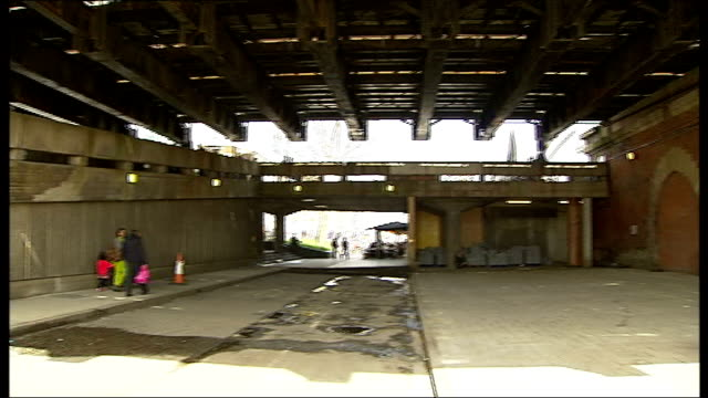 south bank undercroft under threat for skateboarders; gv undercroft to hungerford bridge jude kelly interview sot - the skateboarders don't want a... - hungerford bridge stock videos & royalty-free footage
