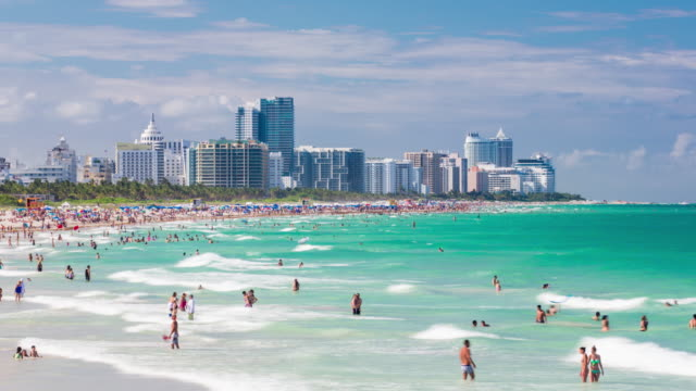 south beach, miami beach, gold coast, miami, florida, usa - time lapse - miami beach stock videos & royalty-free footage