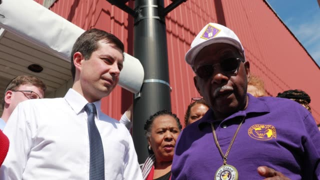 South Bend Indiana Mayor Pete Buttigieg who is running as a Democrat for President of the United States attends the Dyngus Day Solidarity Day Drive...