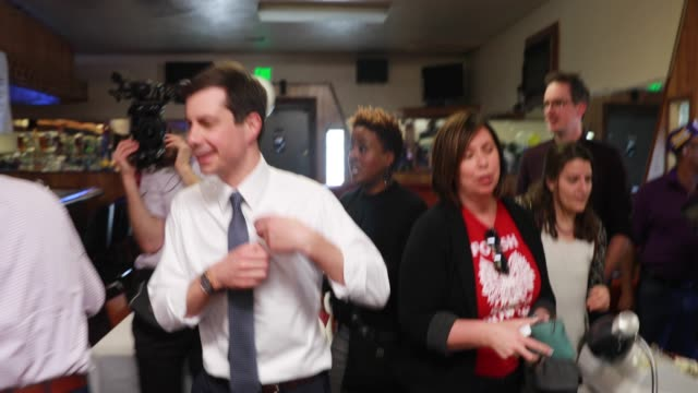 vídeos de stock, filmes e b-roll de south bend indiana mayor pete buttigieg who is running as a democrat for president of the united states attends the dyngus day solidarity day drive... - primary election