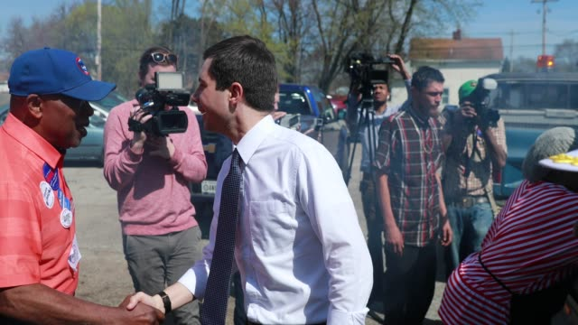 south bend, indiana mayor pete buttigieg, who is running as a democrat for president of the united states, attends the dyngus day solidarity day... - south bend indiana stock videos & royalty-free footage