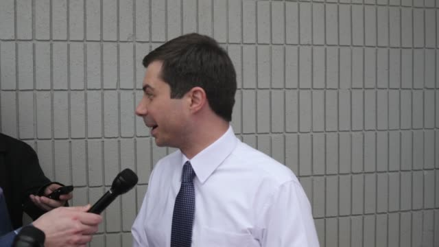 south bend indiana mayor pete buttigieg who is running as a democrat for president of the united states answers questions from the traveling press... - united states presidential election stock videos & royalty-free footage