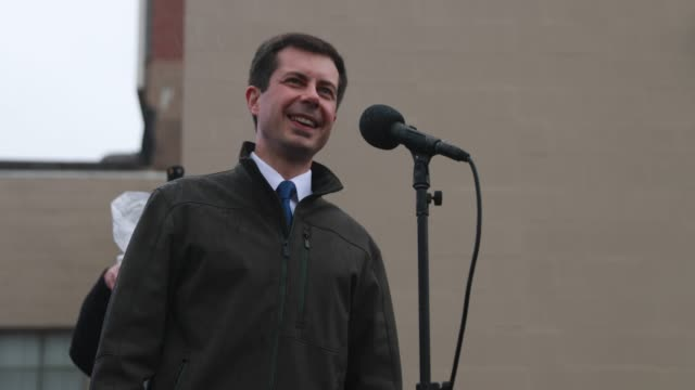 south bend mayor pete buttigieg speaks to the over flow crowd outside the studebaker factory before he announces that he's running for president... - south bend indiana stock videos & royalty-free footage