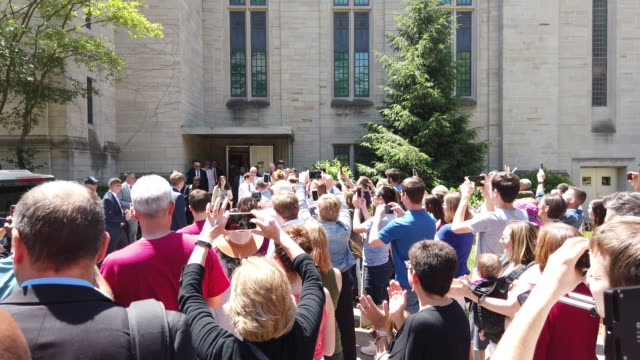 south bend mayor pete buttigieg, who is running for the democratic nomination for president of the united states, leaves the indiana university... - south bend indiana stock videos & royalty-free footage