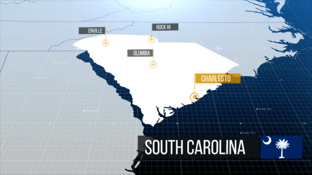 south carolina map - south carolina stock videos & royalty-free footage