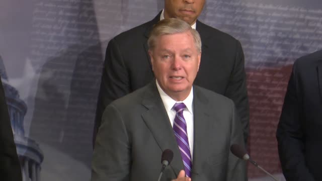 south carolina senator lindsey graham addresses critics a bipartisan press conference after passage of criminal justice reform called the first step... - lowering stock videos & royalty-free footage