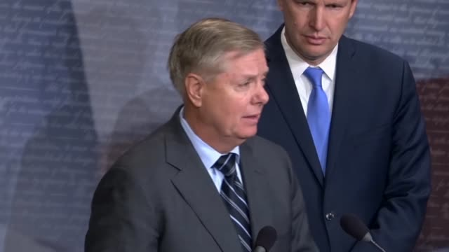 south carolina senator lindsey graham addresses middle east countries at a news conference after a successful procedural vote on a war powers... - united states congress stock videos & royalty-free footage