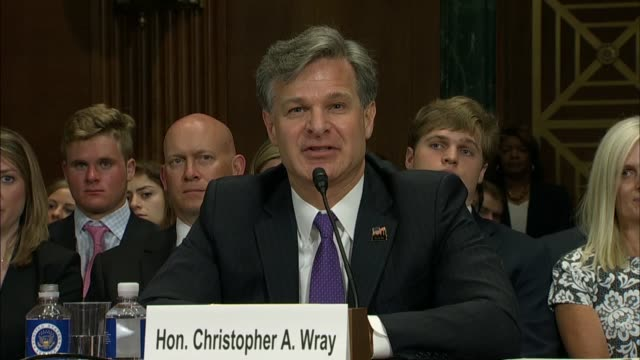 south carolina senator lindsey graham and fbi director nominee christopher wray discuss his taking the position in a contentious time for american... - christopher a. wray stock videos & royalty-free footage